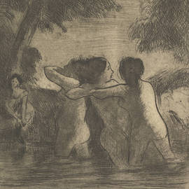 Four Bathers by Camille Pissarro