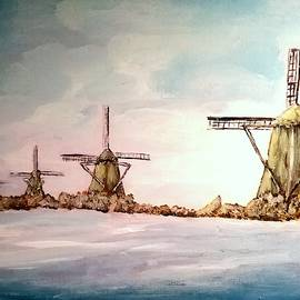 Four Windmills OnA Waterway by Irving Starr