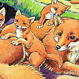 Harry M Pettit - Fox and her cubs