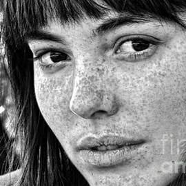 Freckled Beauty Black and White Version by Jim Fitzpatrick