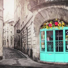 French Cafe With Blue Doors Bordeaux France  by Carol Japp