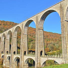 French viaduct in Rhone-Alpes region in autumn by Gregory DUBUS