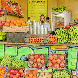 Fresh Fruit Juice at the Shuk by Morris Finkelstein