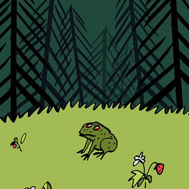 BlackLineWhite Art - Frog On A Forest Field