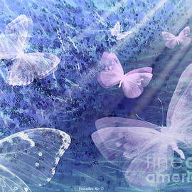 From Darkness to Light - Pink Butterfly  by Yoonhee Ko
