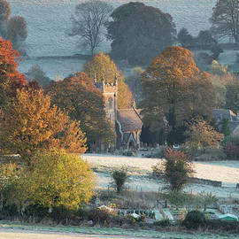 Frosty Autumn Sunrise Overlooking St Peter's Church In Upper Slaughter by Tim Gainey