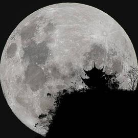 Full Moon Behind Clifftop Gazebo In Chengdu China by William Dickman