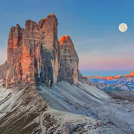 Full Moon Morning on Tre Cime di Lavaredo by Dmytro Korol