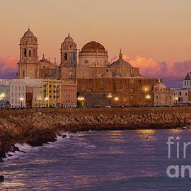 Full Moon Over Cadiz Cathedral From Southern Field Andalusia Spain by Pablo Avanzini