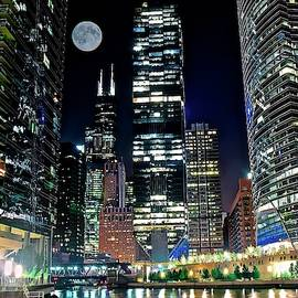 Full Moon Over Chicago by Chicago Skyline