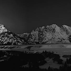 Full Moon Sets in the Tetons Panorama by Raymond Salani III