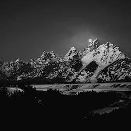 Full Moon Sets in the Tetons by Raymond Salani III
