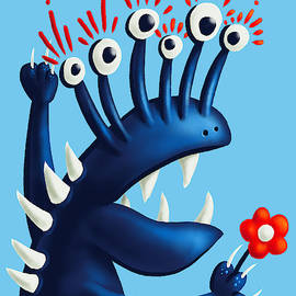 Funny Monster In Blue With Flower by Boriana Giormova