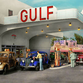 Gas Station - The Great American Road Trip 1939 by Mike Savad