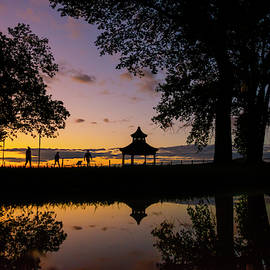 Gazebo Sunset Reflection by Mark Papke