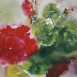 Vali Irina Ciobanu - Geraniums. Red flowers watercolor