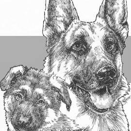 German Shepherd and Pup by Barbara Keith
