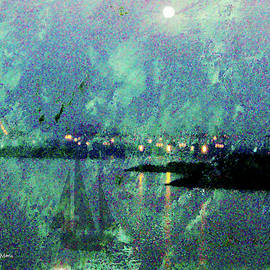 Ghost Moon over Harbor storm by Bonnie Marie