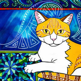 Ginger Angel Cat Painting by Dora Hathazi Mendes