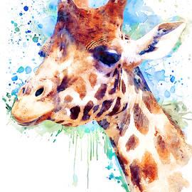 Giraffe Watercolor Portrait by Marian Voicu