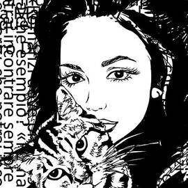 Girl And Cat  by Nesrin Gulistan