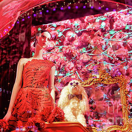 Girl And The Poodle At Saks Fifth Avenue In New York City by John Rizzuto