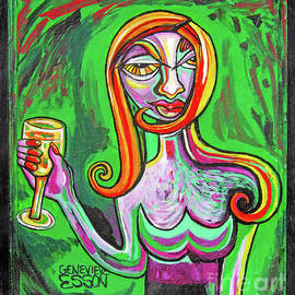 Girl In Green With Glass Of Chardonnay by Genevieve Esson