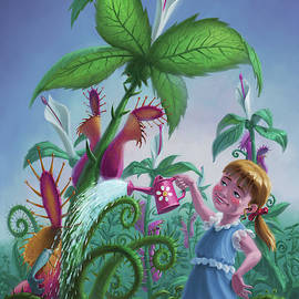 Girl Watering Horror Plants by Martin Davey