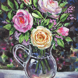 Glass Pitcher With Pink And Yellow Roses Impressionism  by Irina Sztukowski
