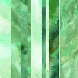 Glowing Green Lines Abstract Watercolor Decor  by Irina Sztukowski