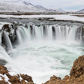 Godafoss Waterfall Iceland by Joan Carroll