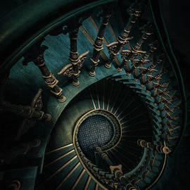Golden And Blue Staircase by Jaroslaw Blaminsky