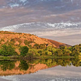Golden Hour Contemplation At Moss Lake - Enchanted Rock Fredericksburg Texas Hill Country by Silvio Ligutti