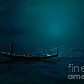 Gondola at night by Lutz Roland Lehn