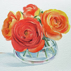 Gorgeous Ranunculus Watercolor Bouquet by Irina Sztukowski