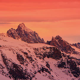Grand And Other Tetons From The Top Of Jackson Hole Ski Resort by Raymond Salani III