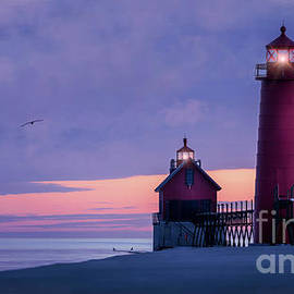 Grand Haven Lighthouses, Michigan 3 by Liesl Walsh