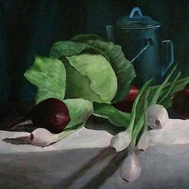 Green Cabbage and Onions by Shylaja Nanjundiah