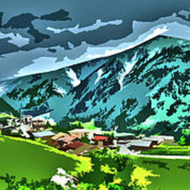 Green Glowing Alps Panorama by Bumsable