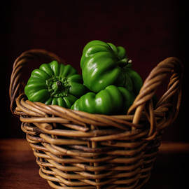 Green Peppers in a Basket by Cassi Moghan