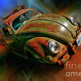 Green Rusted Volkswagen Bug  by Blake Richards