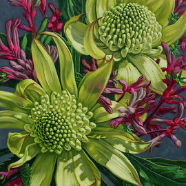 Green Waratahs with Kangaroo Paws by Fiona Craig