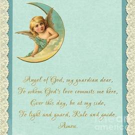 Guardian Angel Prayer In Gold Script by Rose Santuci-Sofranko