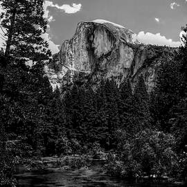 Half Dome from Merced River - B W by Mark Fuge