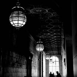 Hallway Interior NY Library 5th Ave Black White  by Chuck Kuhn