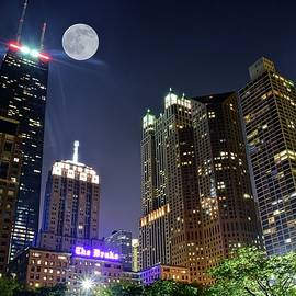 Hancock and Full Moon by Chicago Skyline