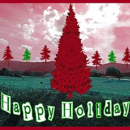 Happy Holidays - Country Christmas Trees by Marian Bell