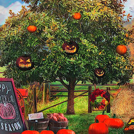 Happy Pumpkin Season Painting by Debra and Dave Vanderlaan