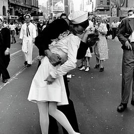 Happy Sailor Kissing Nurse In Times by Alfred Eisenstaedt