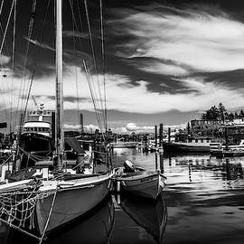 Harbor On Guemes Channel Black And White by TL Mair